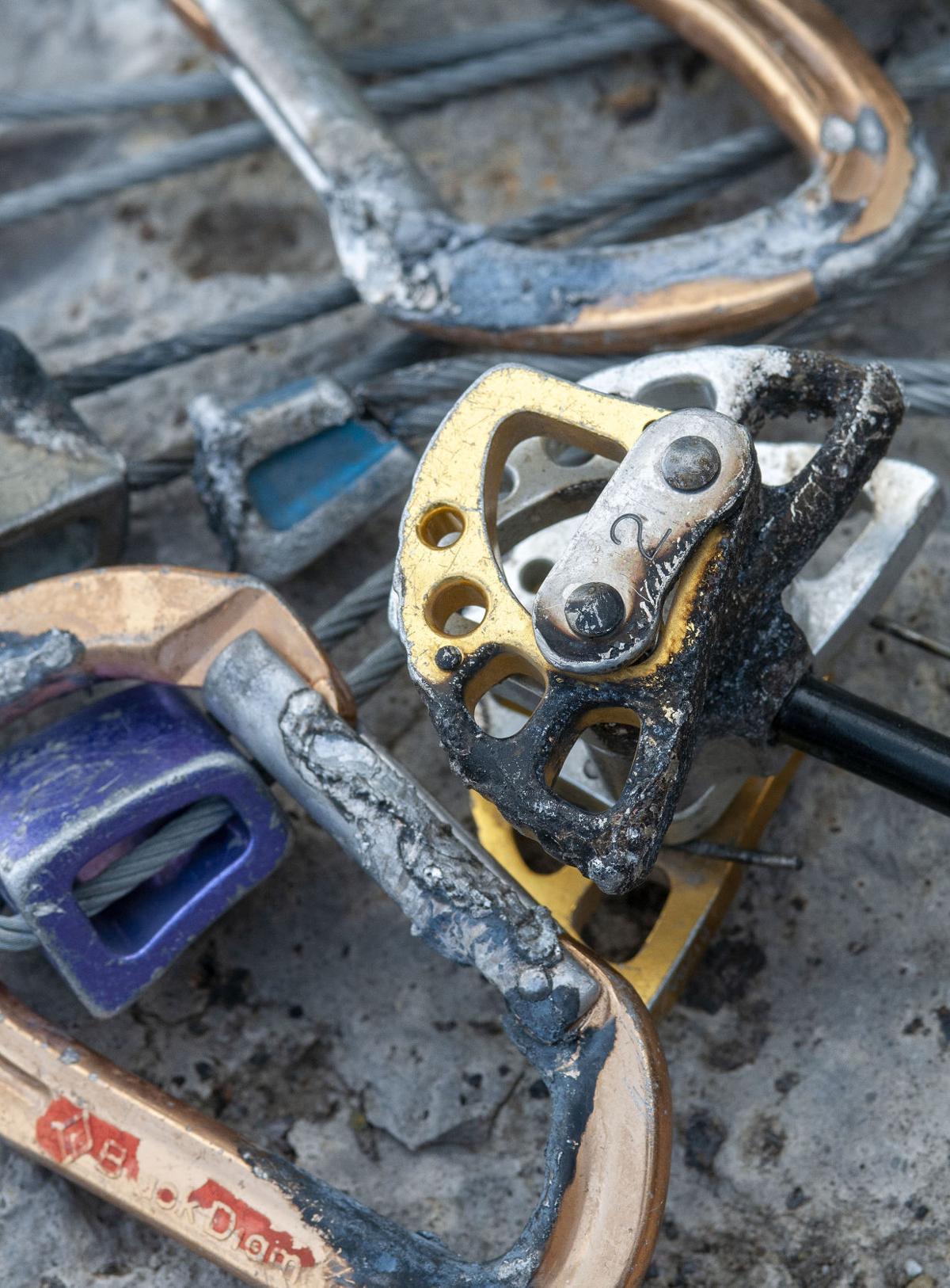 Climbing equipment damaged by Grand Teton lightning strikes in July 21, 2010