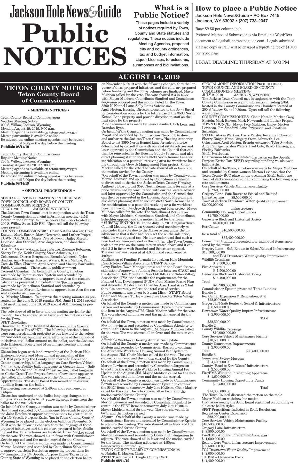 Public Notices, August 14, 2019