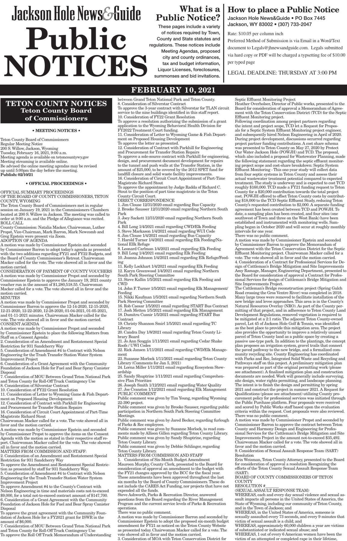 Public Notices Feb. 10, 2021