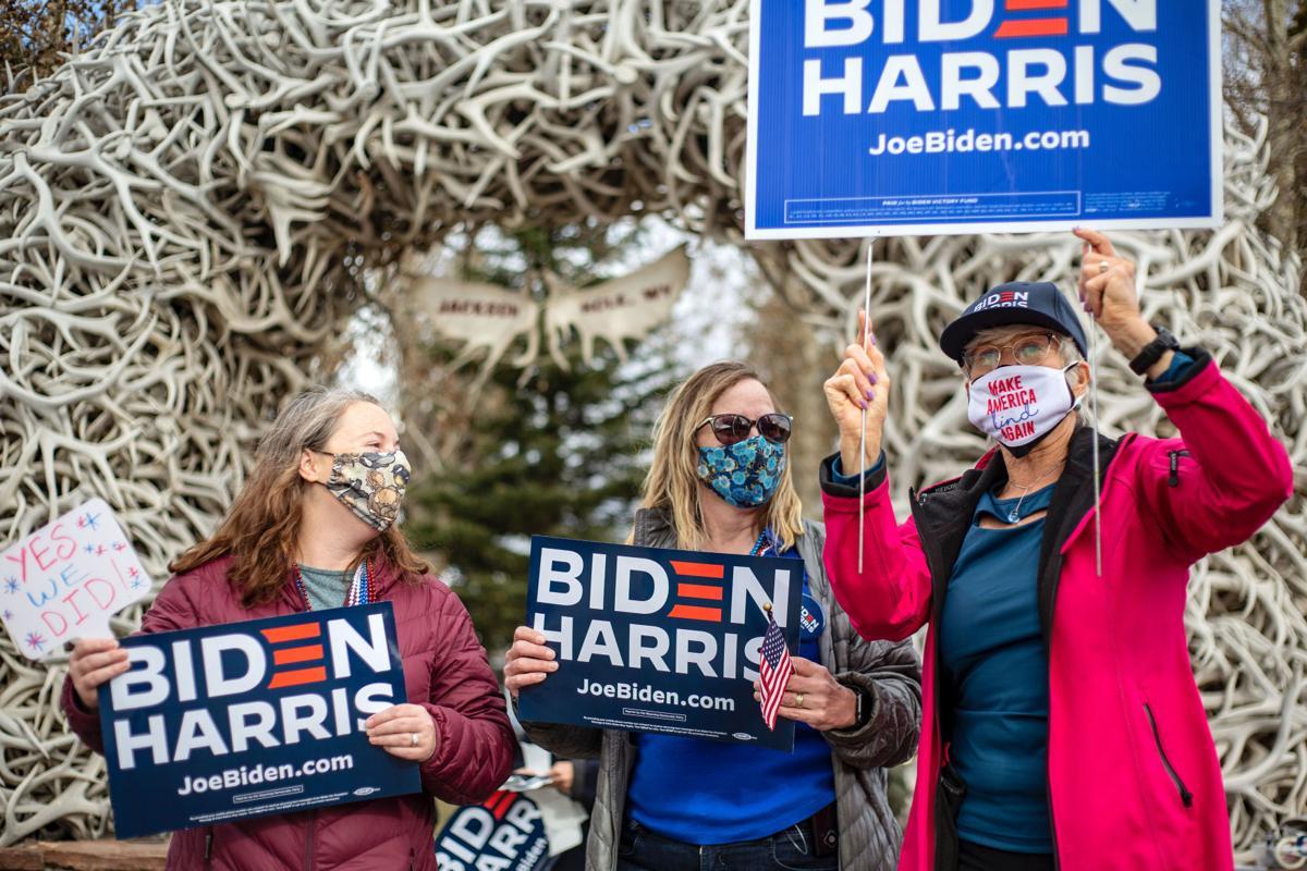 Biden supportors celebrate at town square