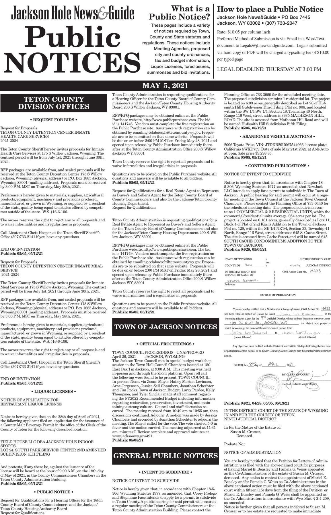 Public Notices, May 5, 2021