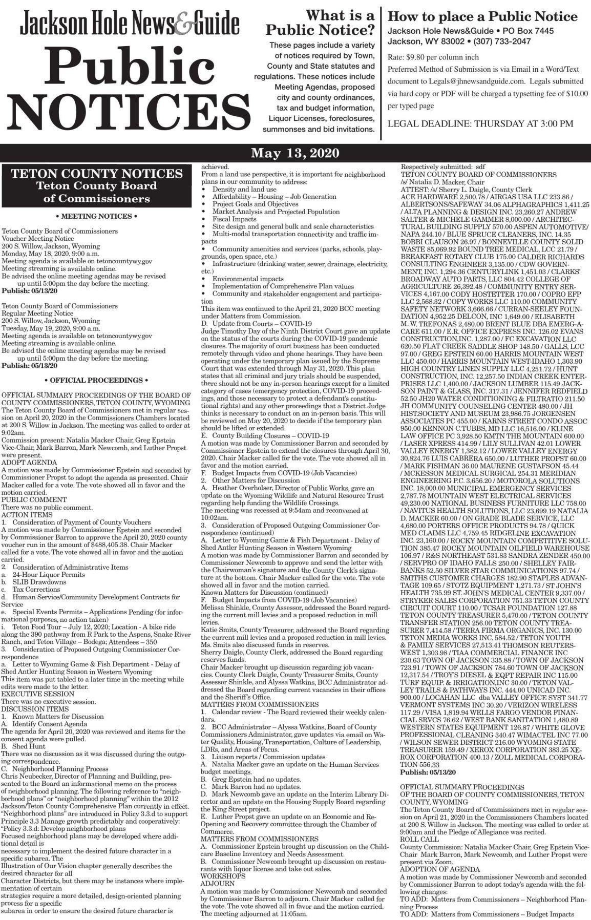 Public Notices, May 13, 2020