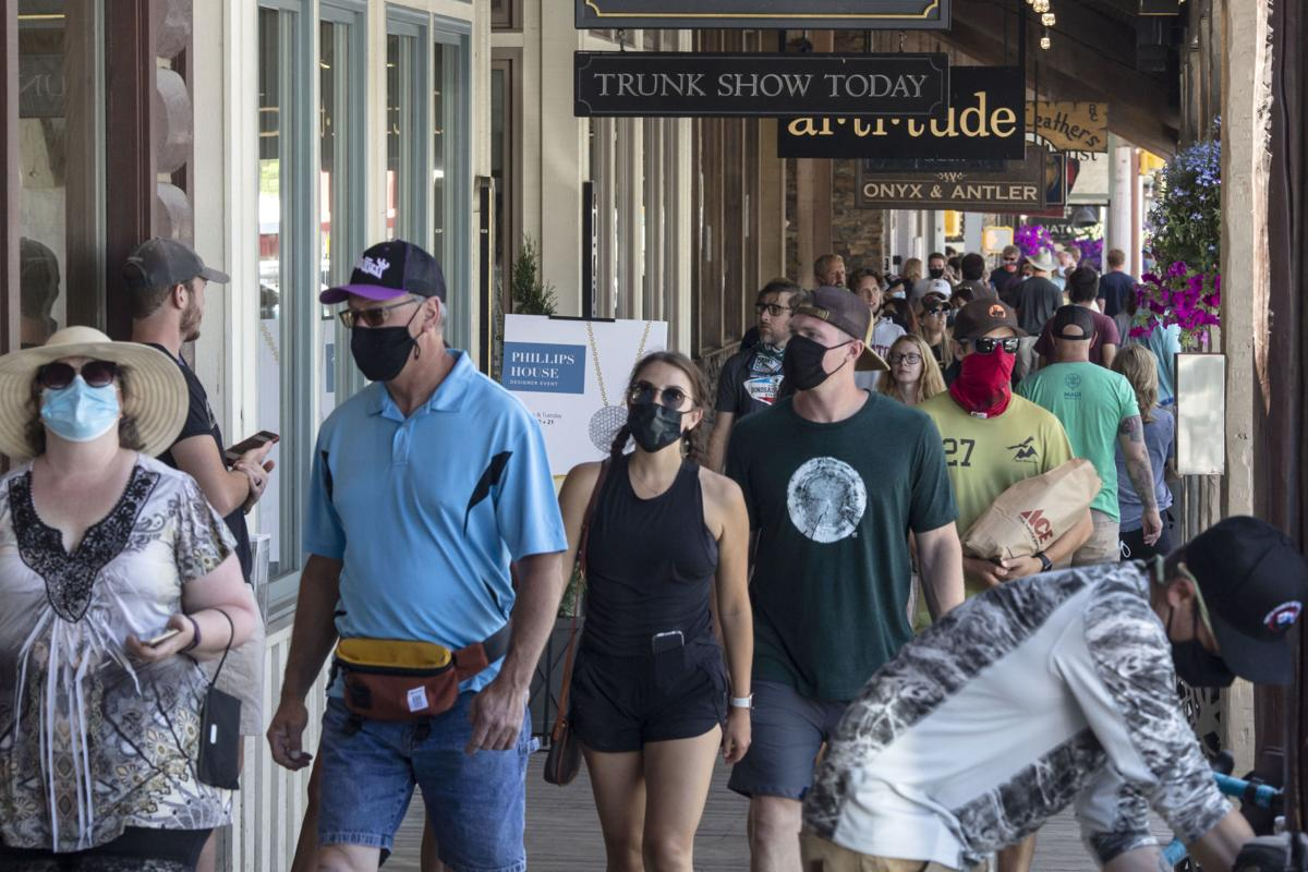 Masks on Jackson's Town Square