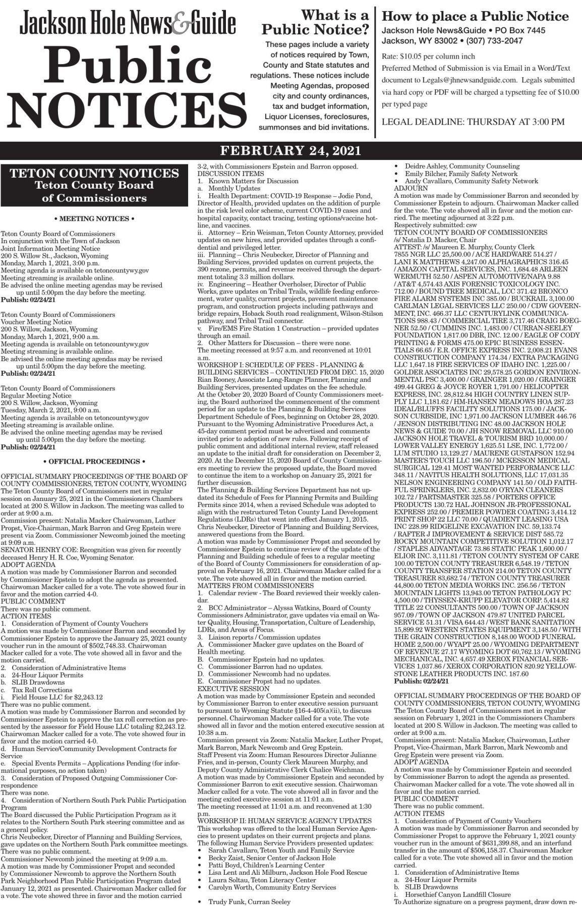 Public Notices, Feb. 24 2021