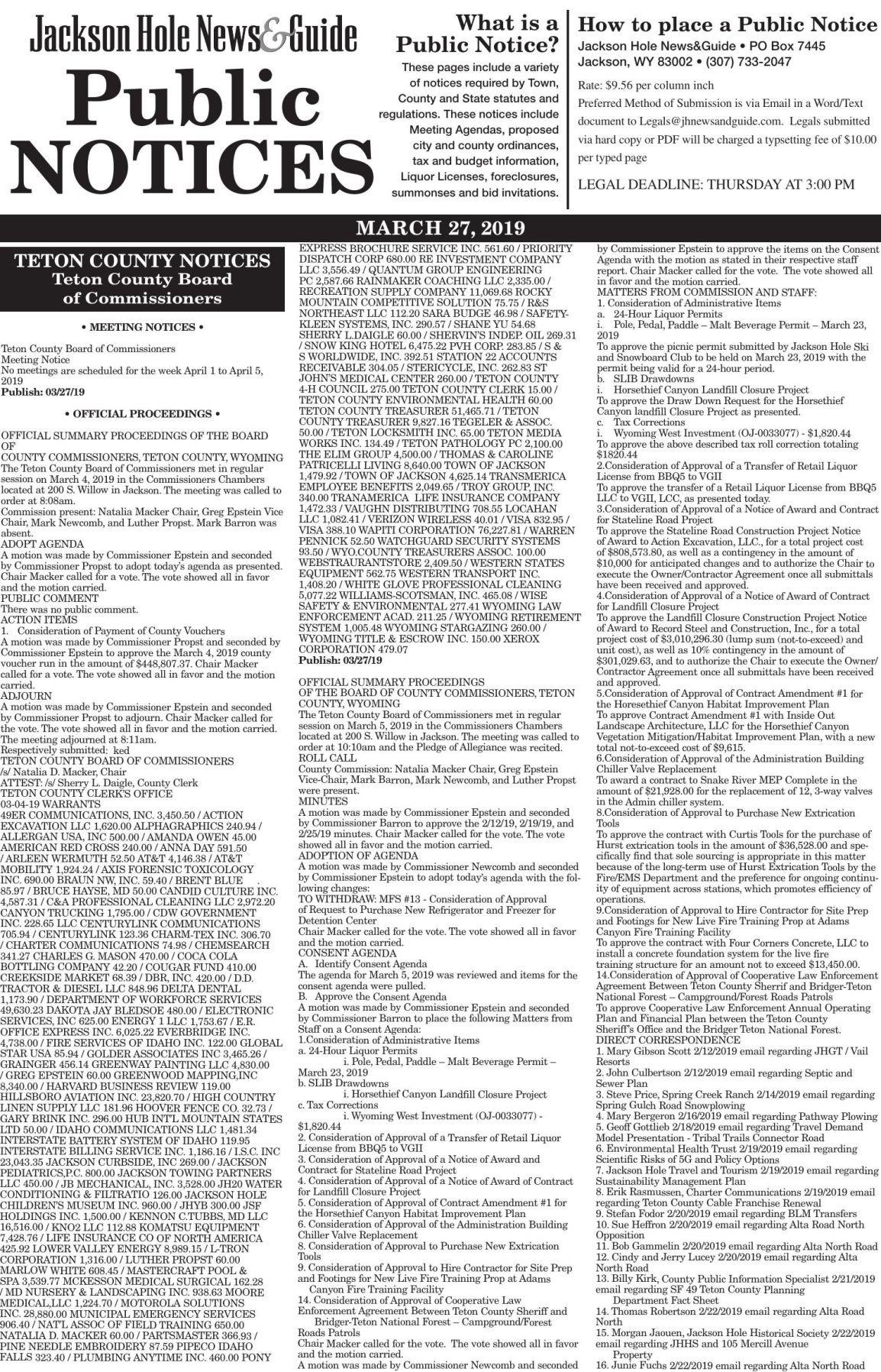Public Notices, March 27, 2019