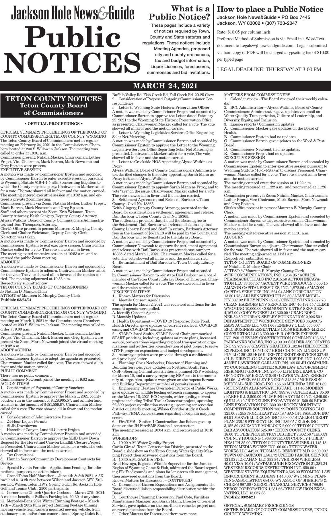 Public Notices, March 24, 2021