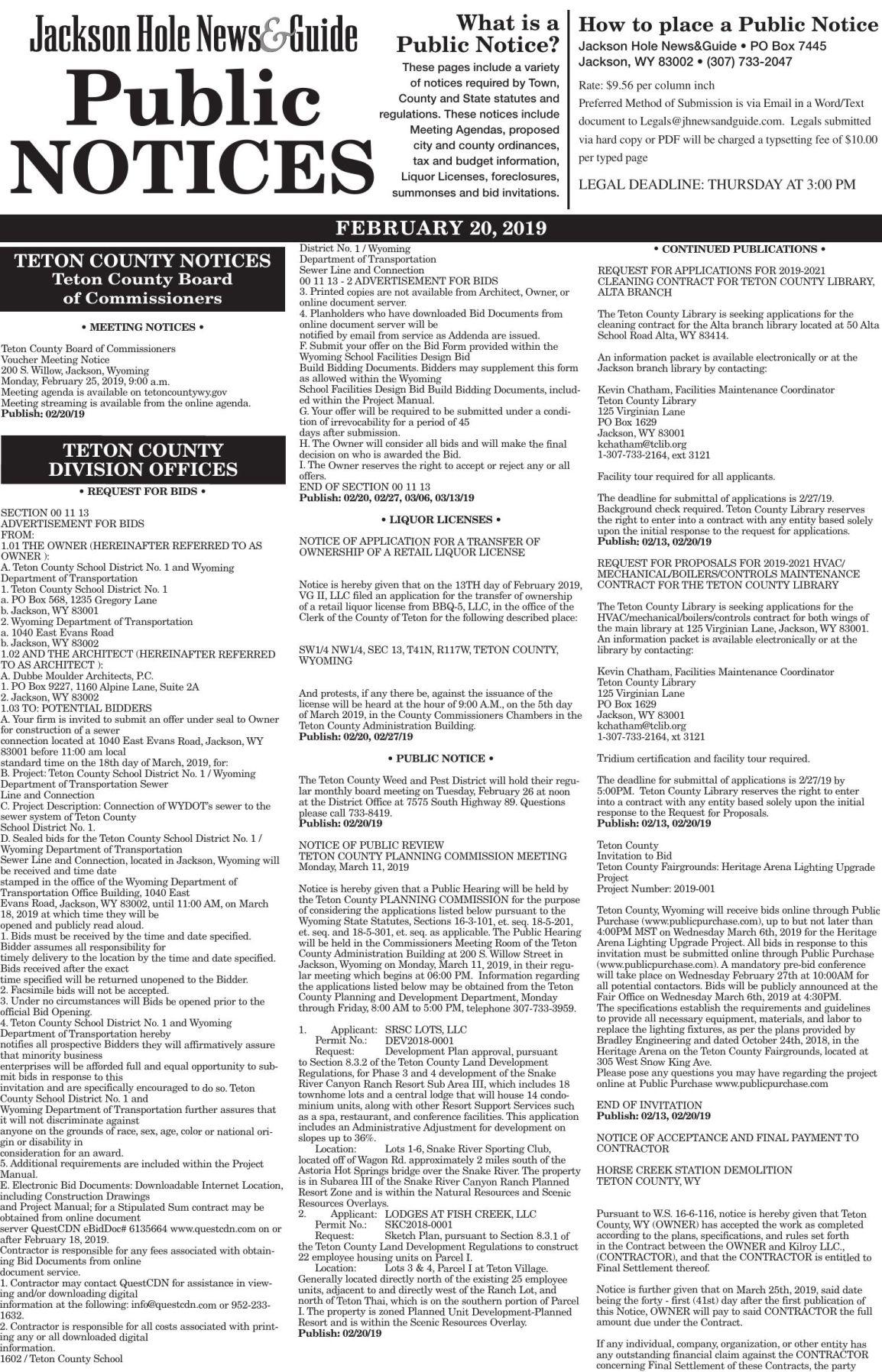 Public Notices, Feb. 20, 2019