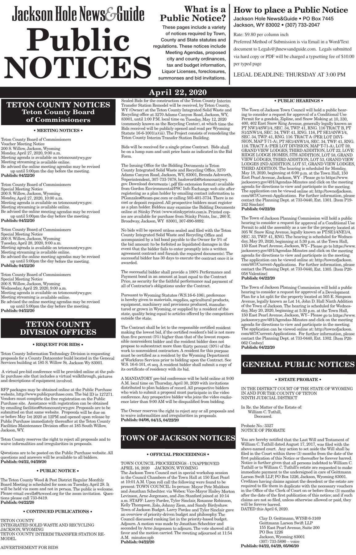Public Notices, April 22, 2020