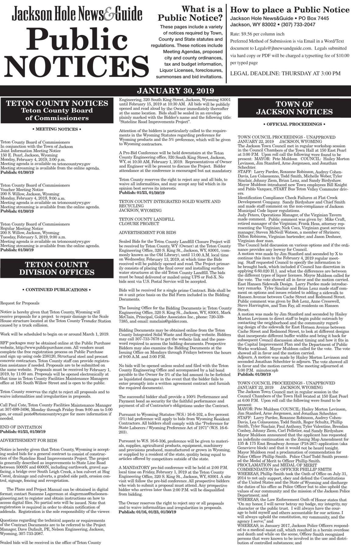 Public Notices, Jan. 30, 2019
