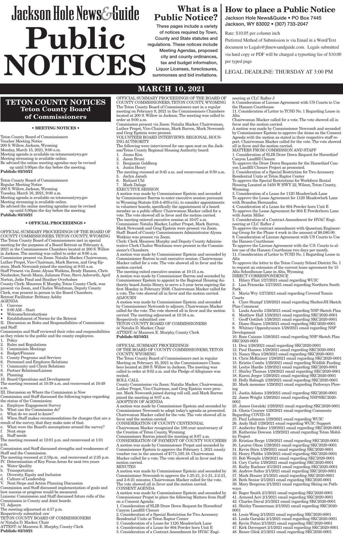 Public Notices, March10, 2021