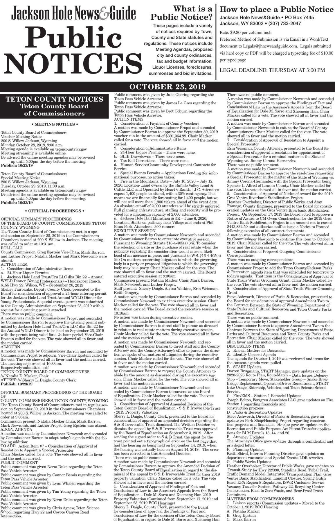 Public Notices, October 23, 2019