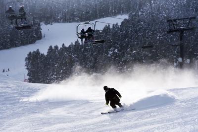 Skiing down Snow King