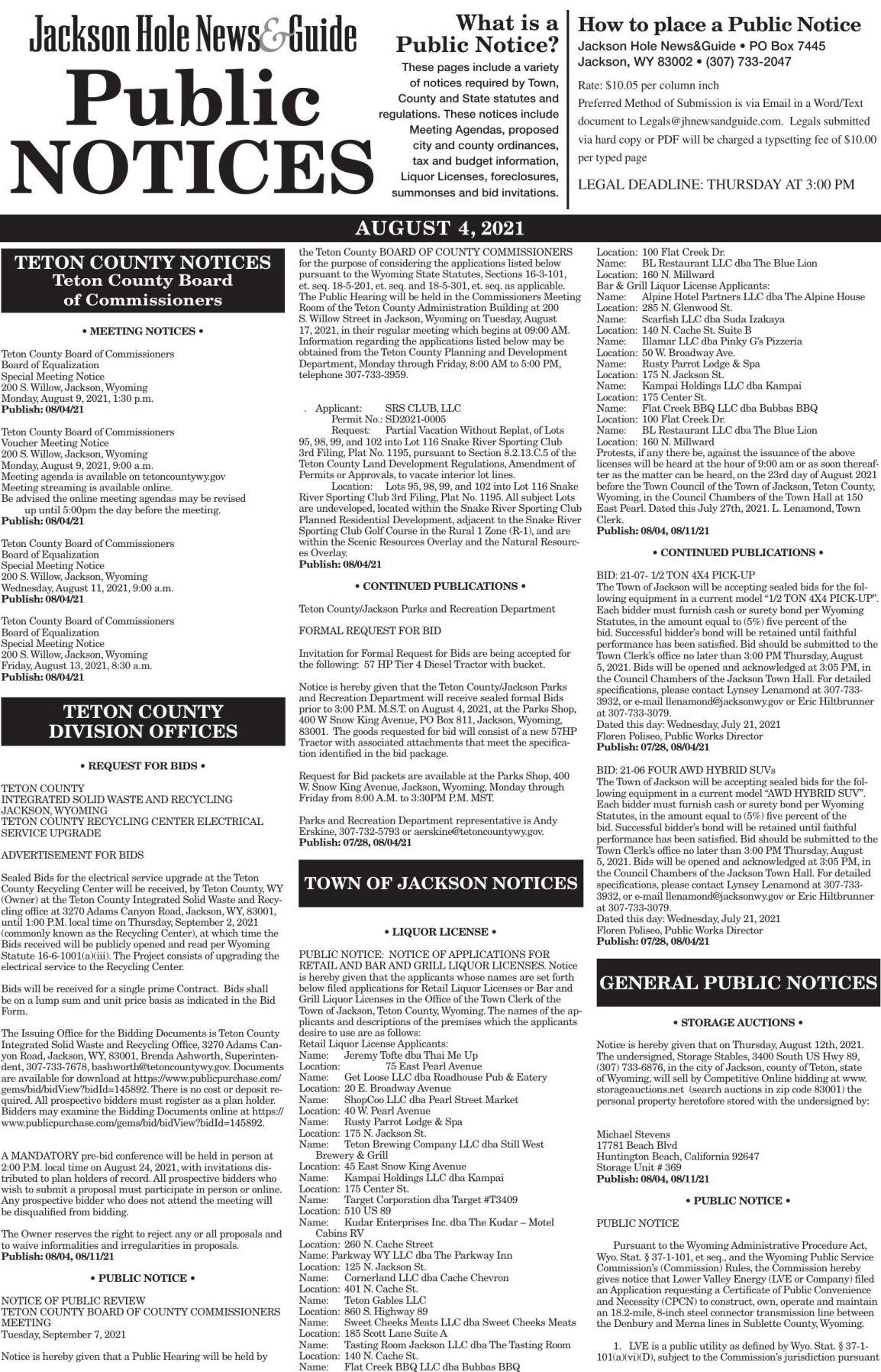 Public Notices, Aug. 4, 2021