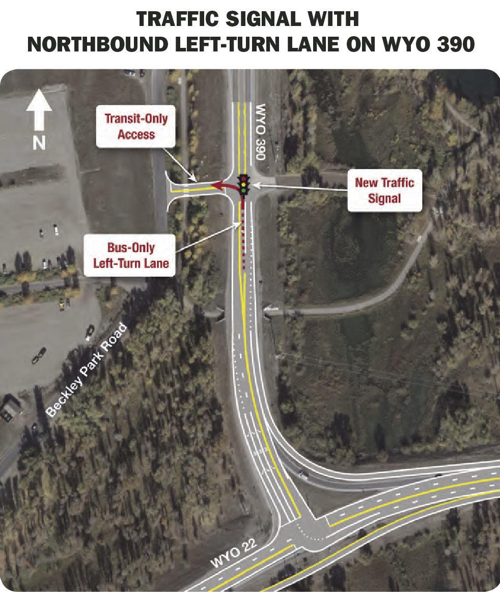 Traffic signal with northbound left-turn lane on WYO 390