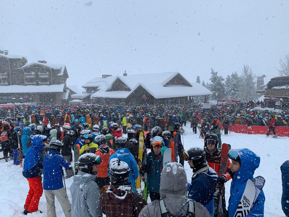 Crowds ready for pow at Jackson Hole Mountain Resort