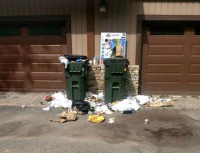 Raided trash cans
