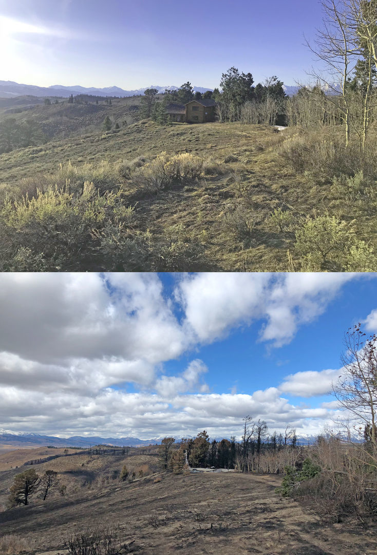 Hoback Ranches, before and after the Roosevelt Fire