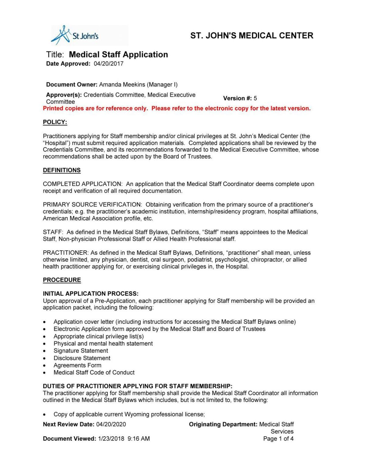 Medical Staff Application Jhnewsandguide