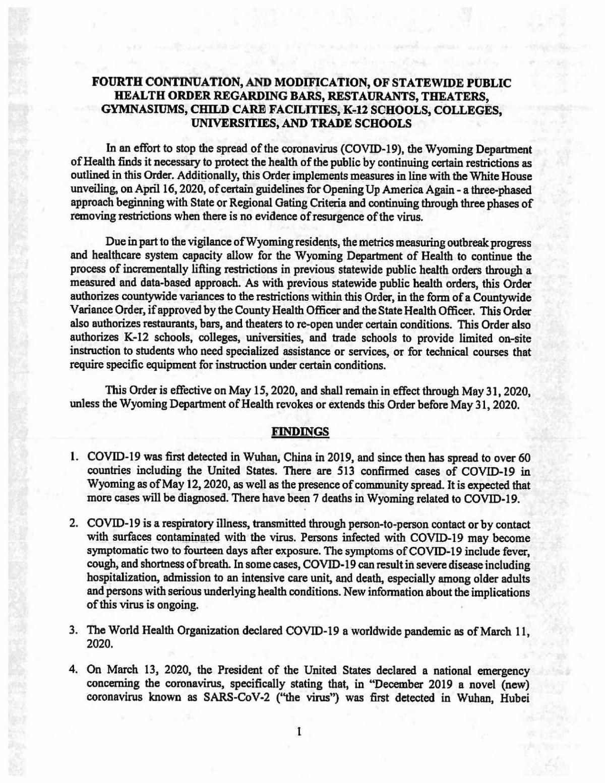 Statewide Order: Bars, Restaurants, Gyms, etc.