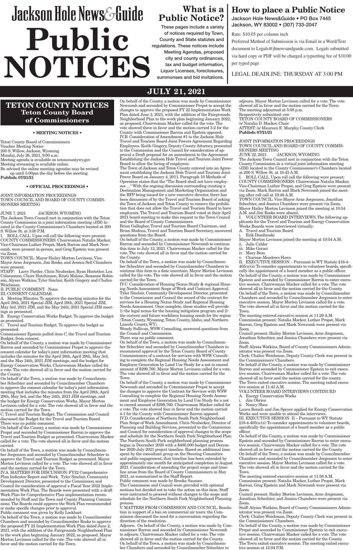 Public Notices, July 21, 2021