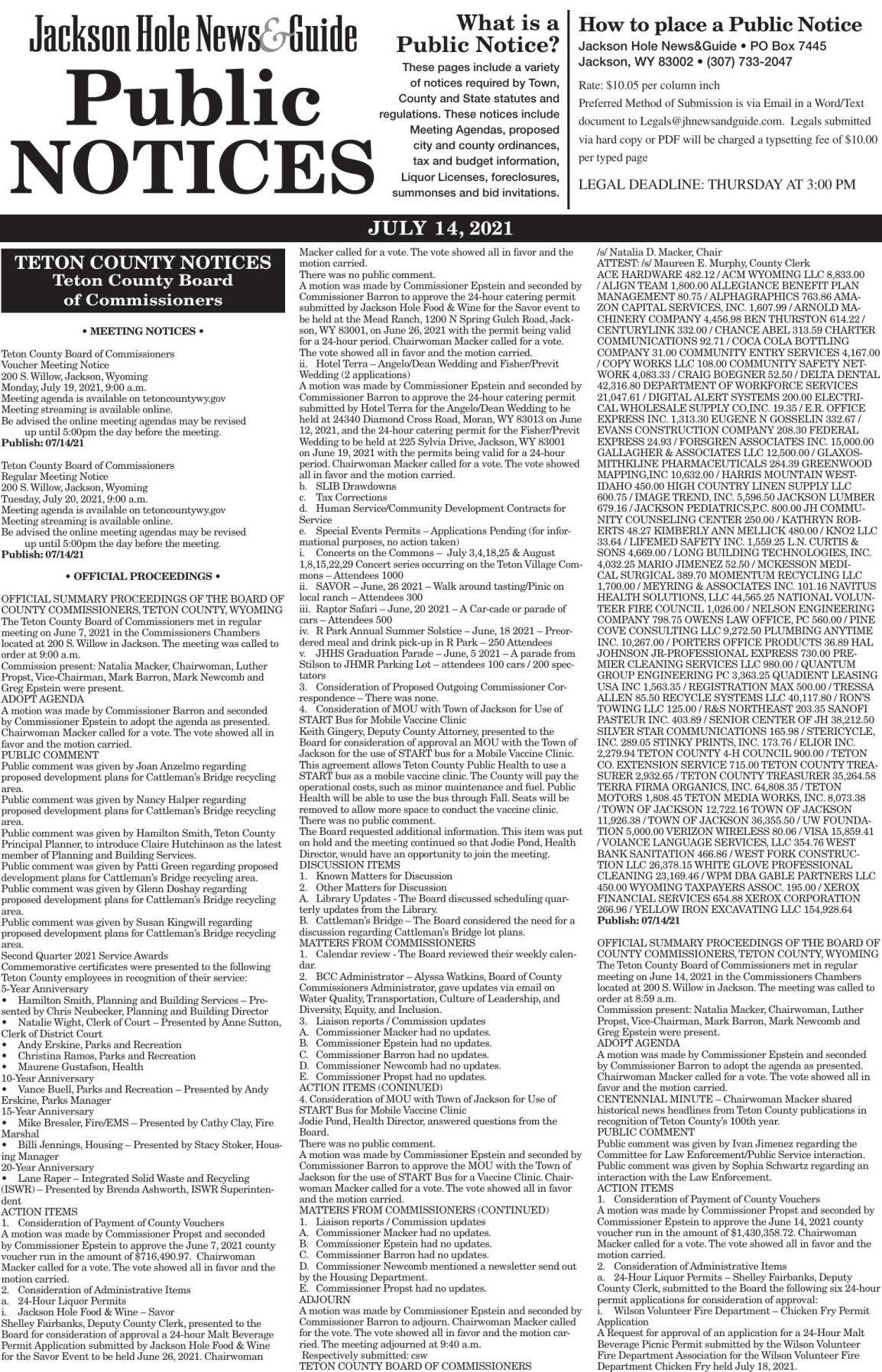 Public Notices, July 14, 2021