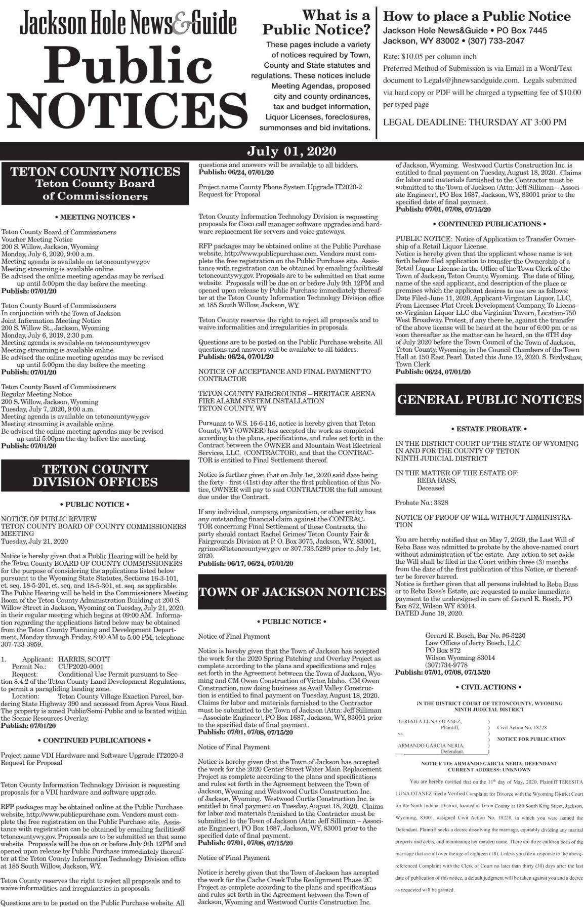 Public Notices, July 01, 2020
