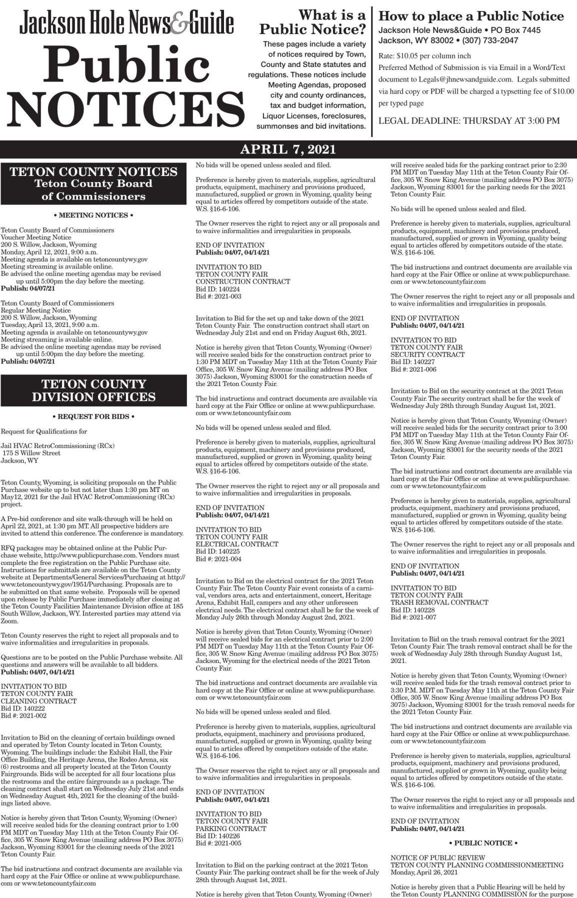 Public Notices, April 7, 2021