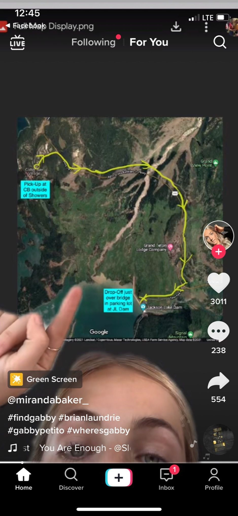 Map of alleged Brian Laundrie hitch-hiking route in Grand Teton National Park