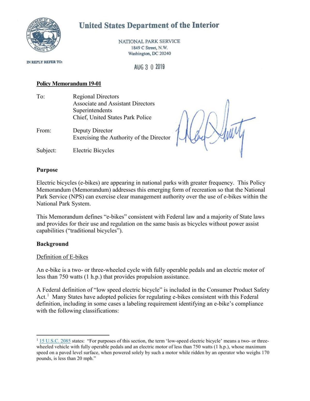 E-bike policy memorandum | | jhnewsandguide com