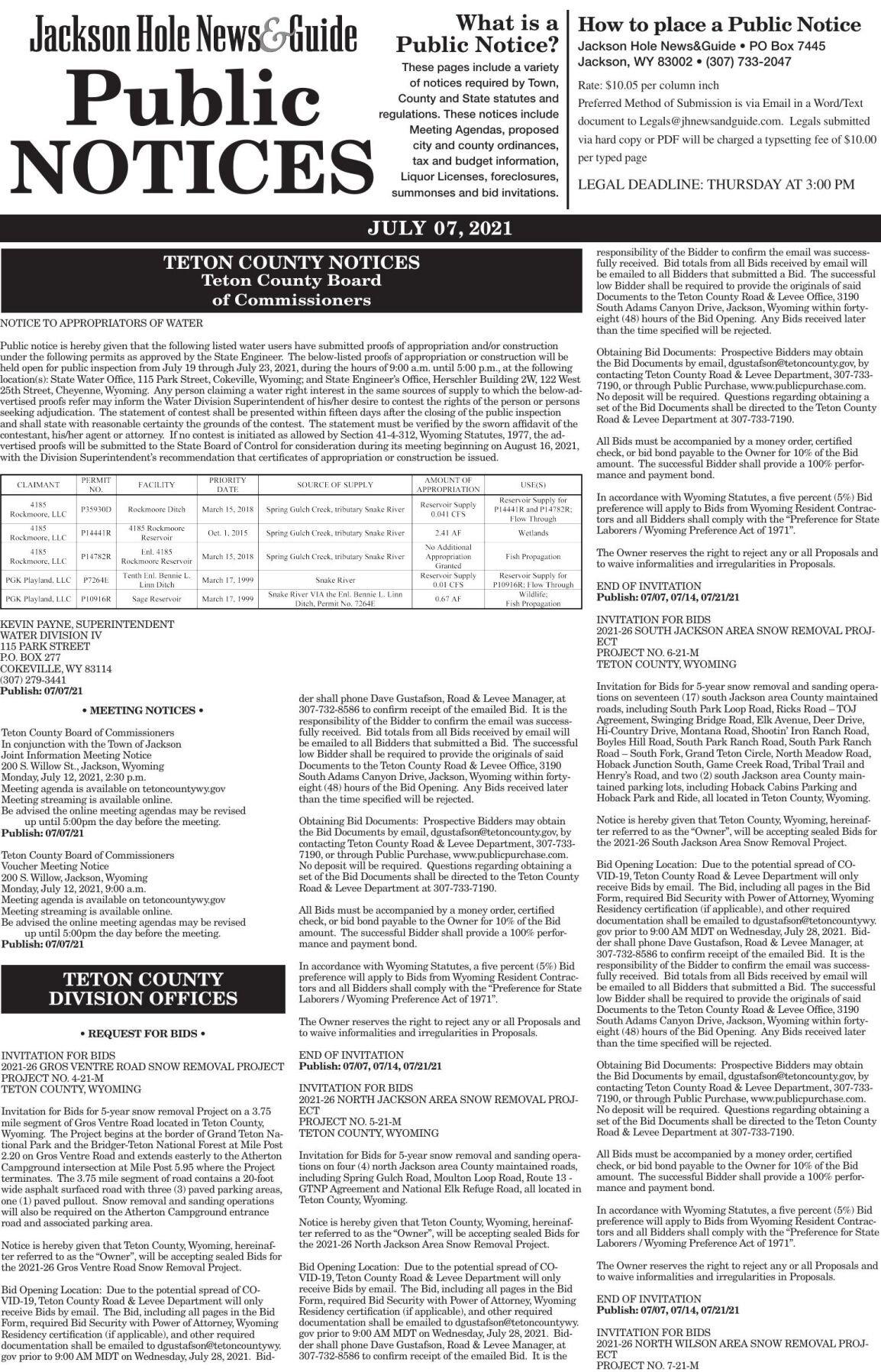 Public Notices, July 07, 2021