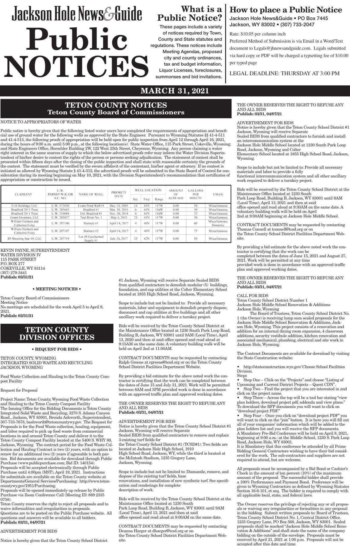 Public Notices, March 31, 2021