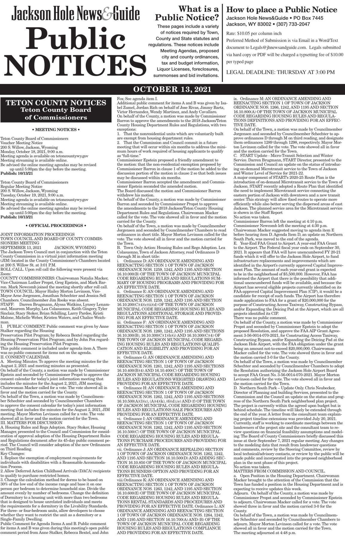 Public Notices, Oct. 13, 2021