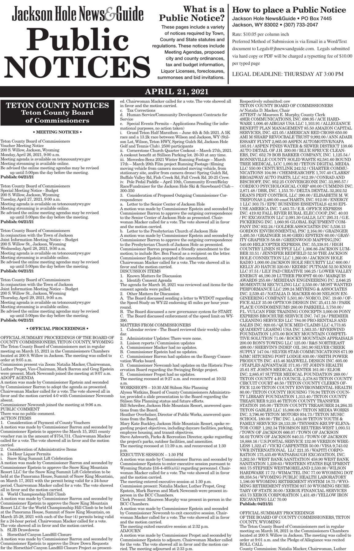 Public Notices, April 21, 2021