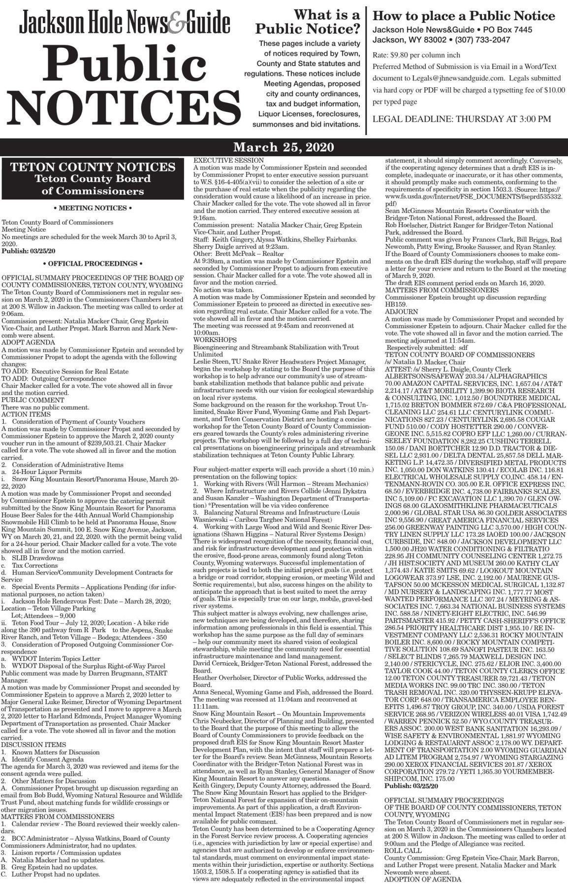 Public Notices, March 25, 2020