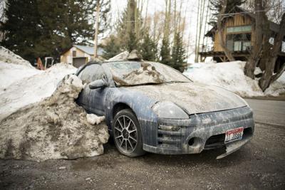 Plowed in car