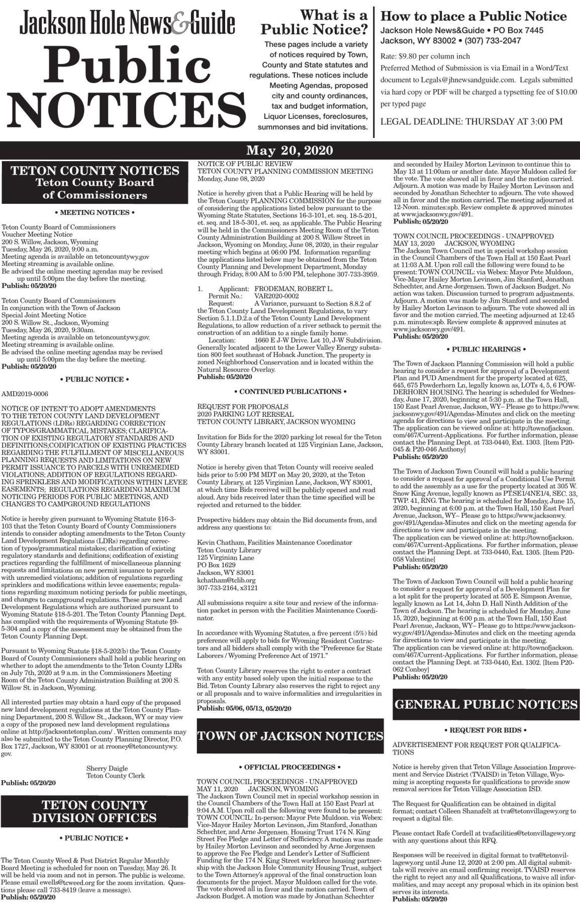 Public Notices, May 20, 2020