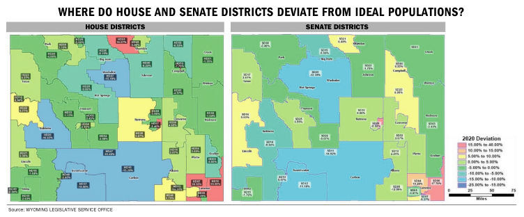 Where do House and Senate districts deviate from ideal populations?