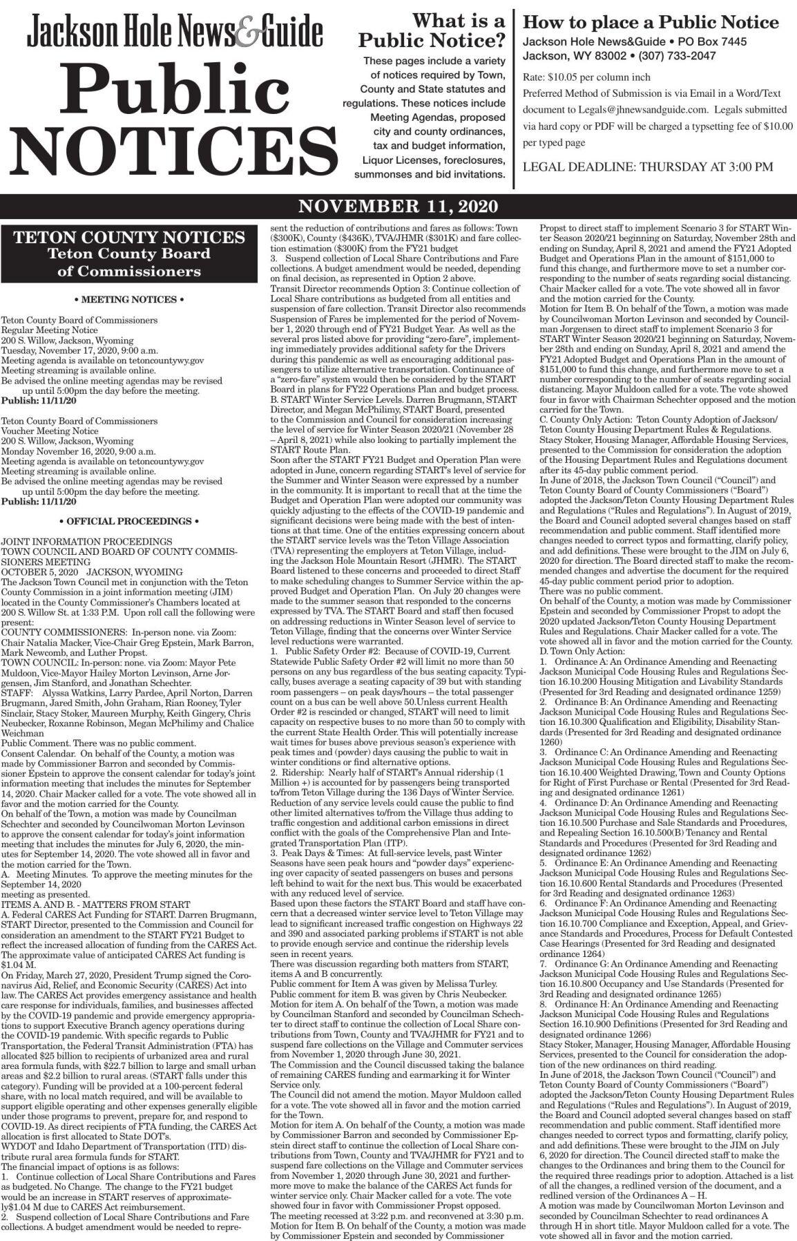 Public Notices, Nov. 11, 2020