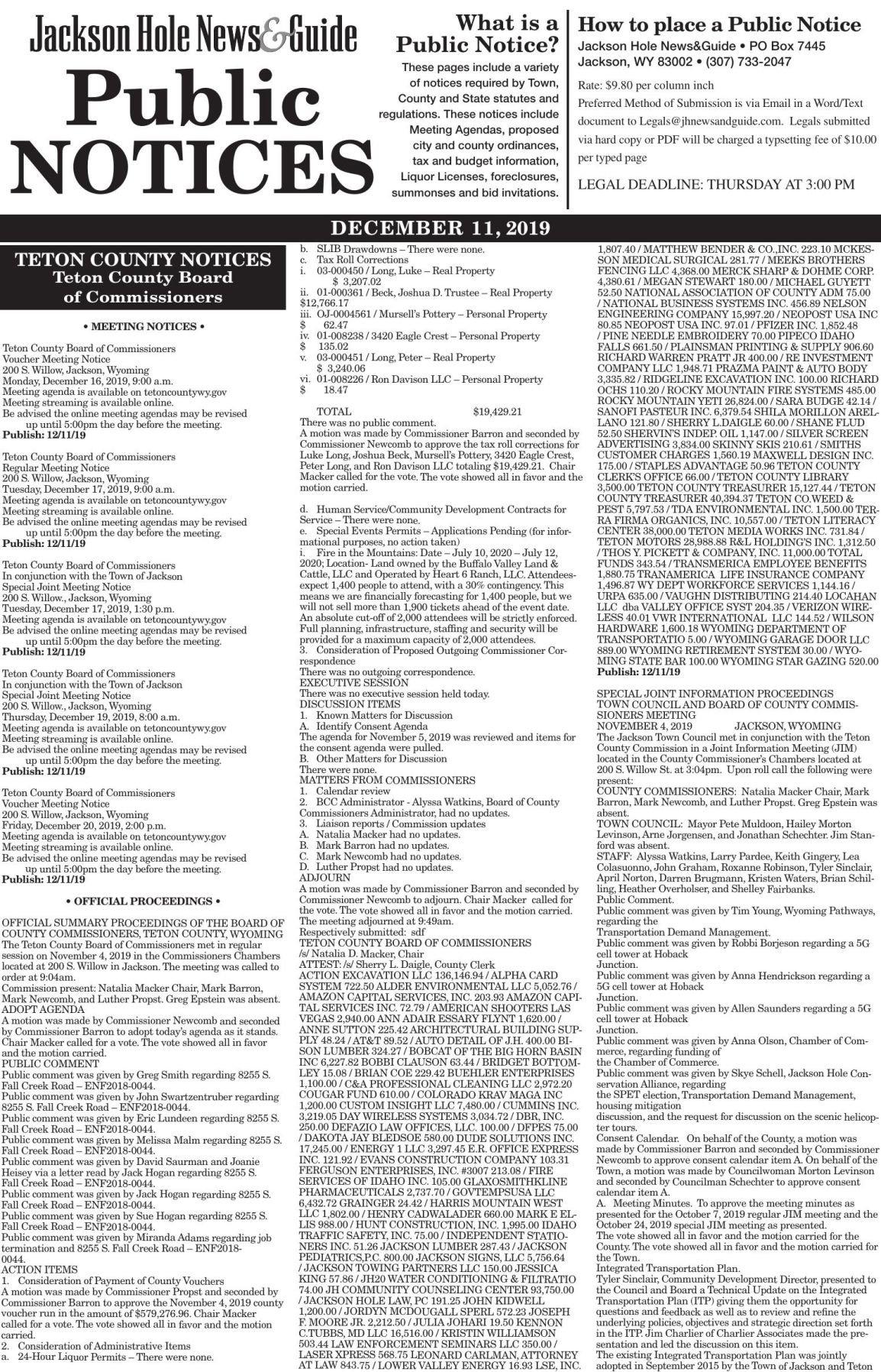 Public Notices, December 11, 2019