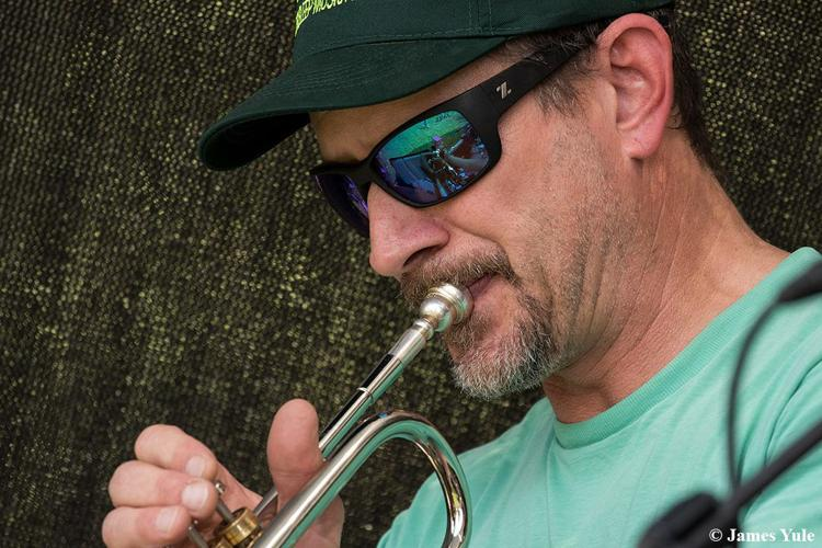 Powell Miller plays trumpet with the Hof Band at the Alpenhof every Sunday