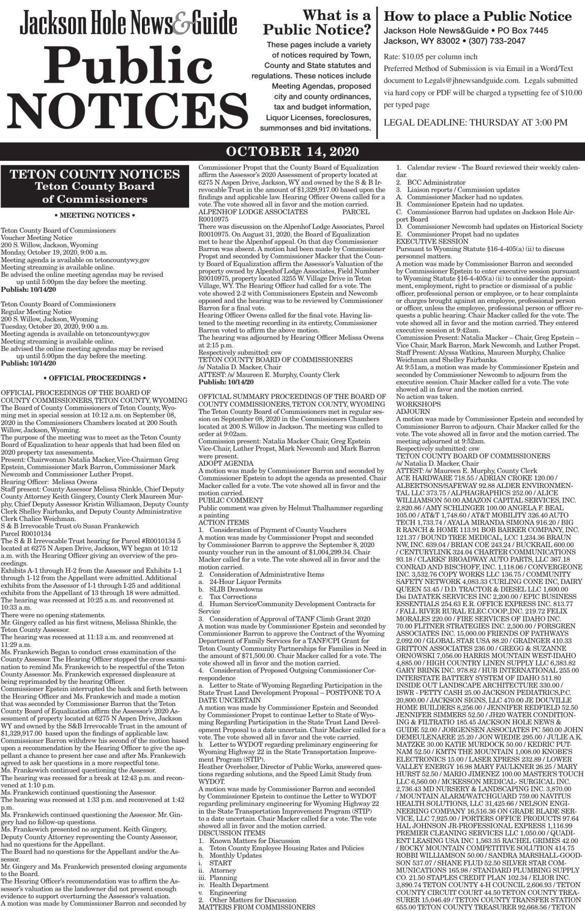 Public Notices, Oct.14, 2020