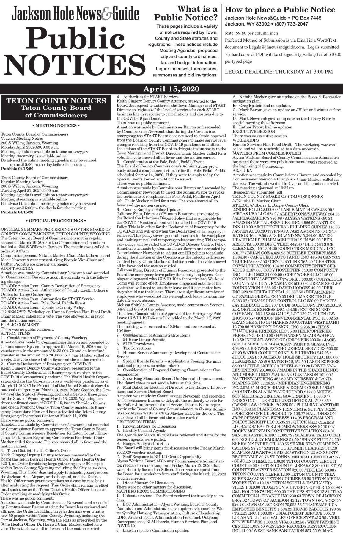 Public Notices, April 15, 2020