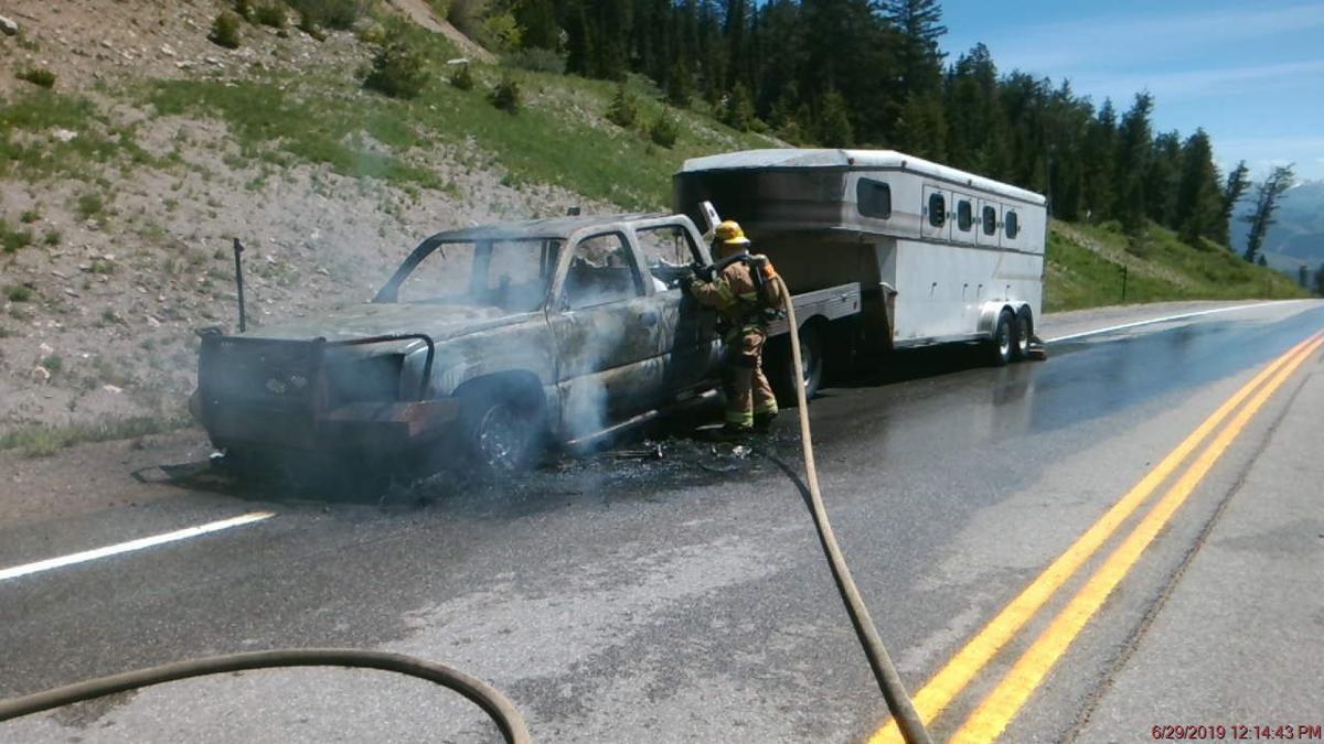 Vehicle fire on Teton Pass