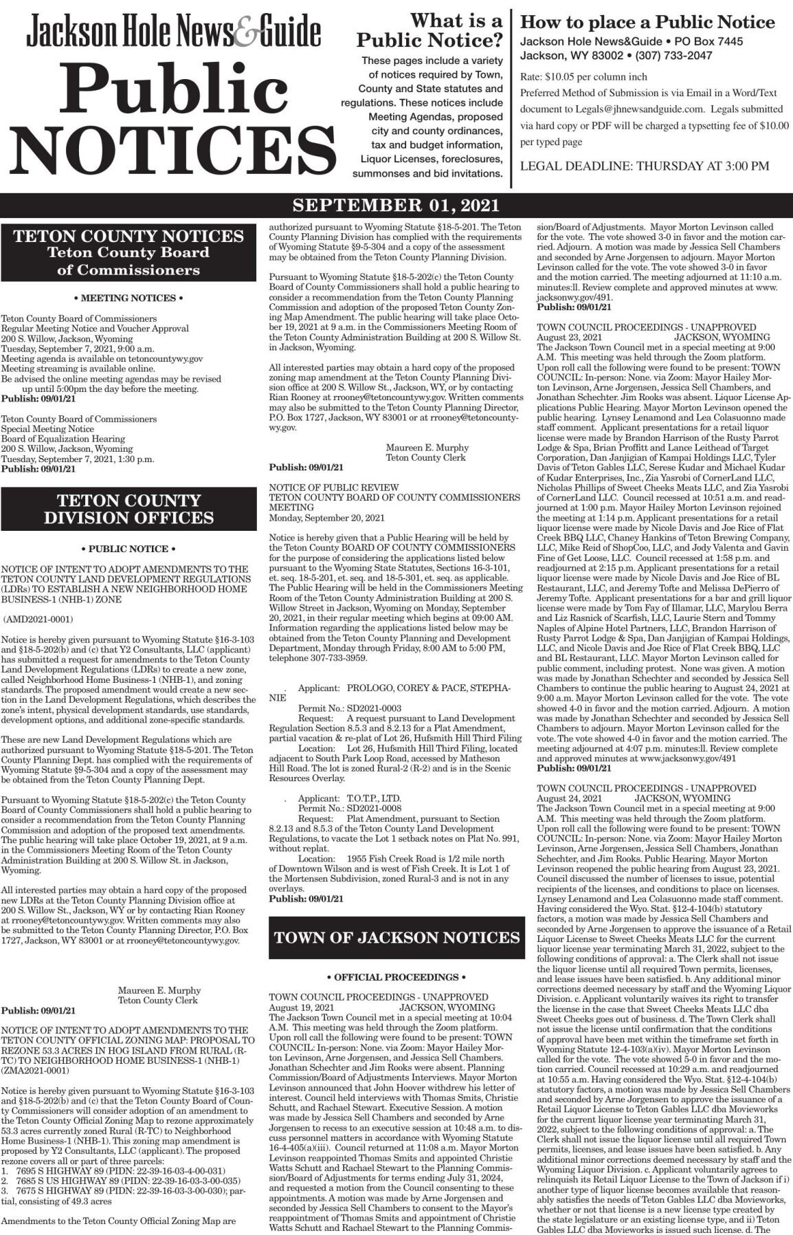 Public Notices, Sept 01, 2021