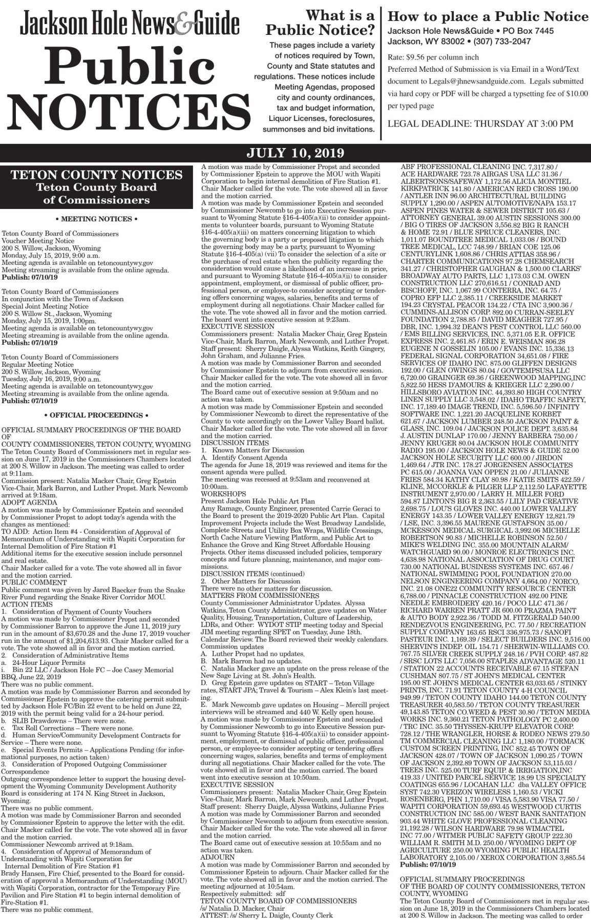 Public Notices, July 10, 2019