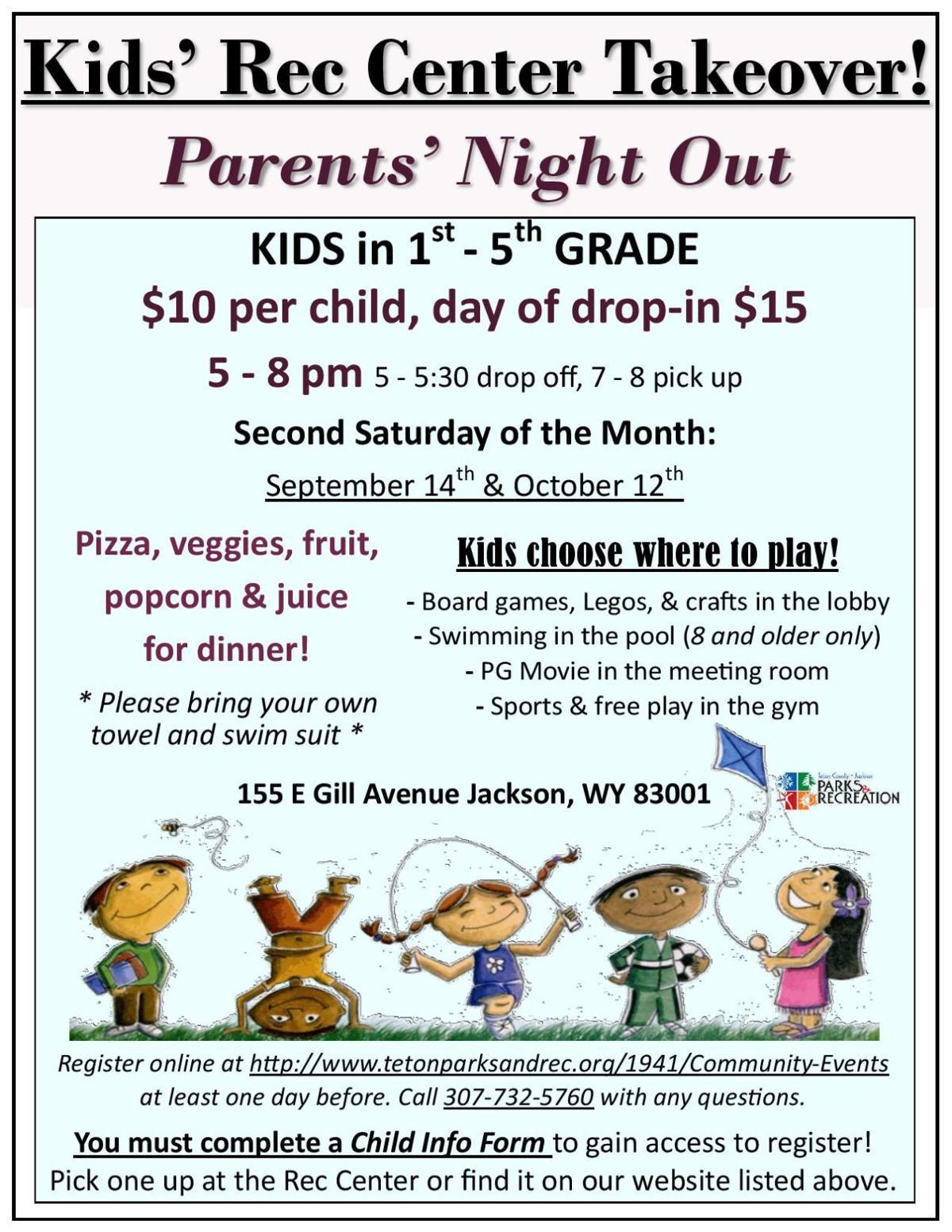 Kids' Rec Center Takeover Flyer