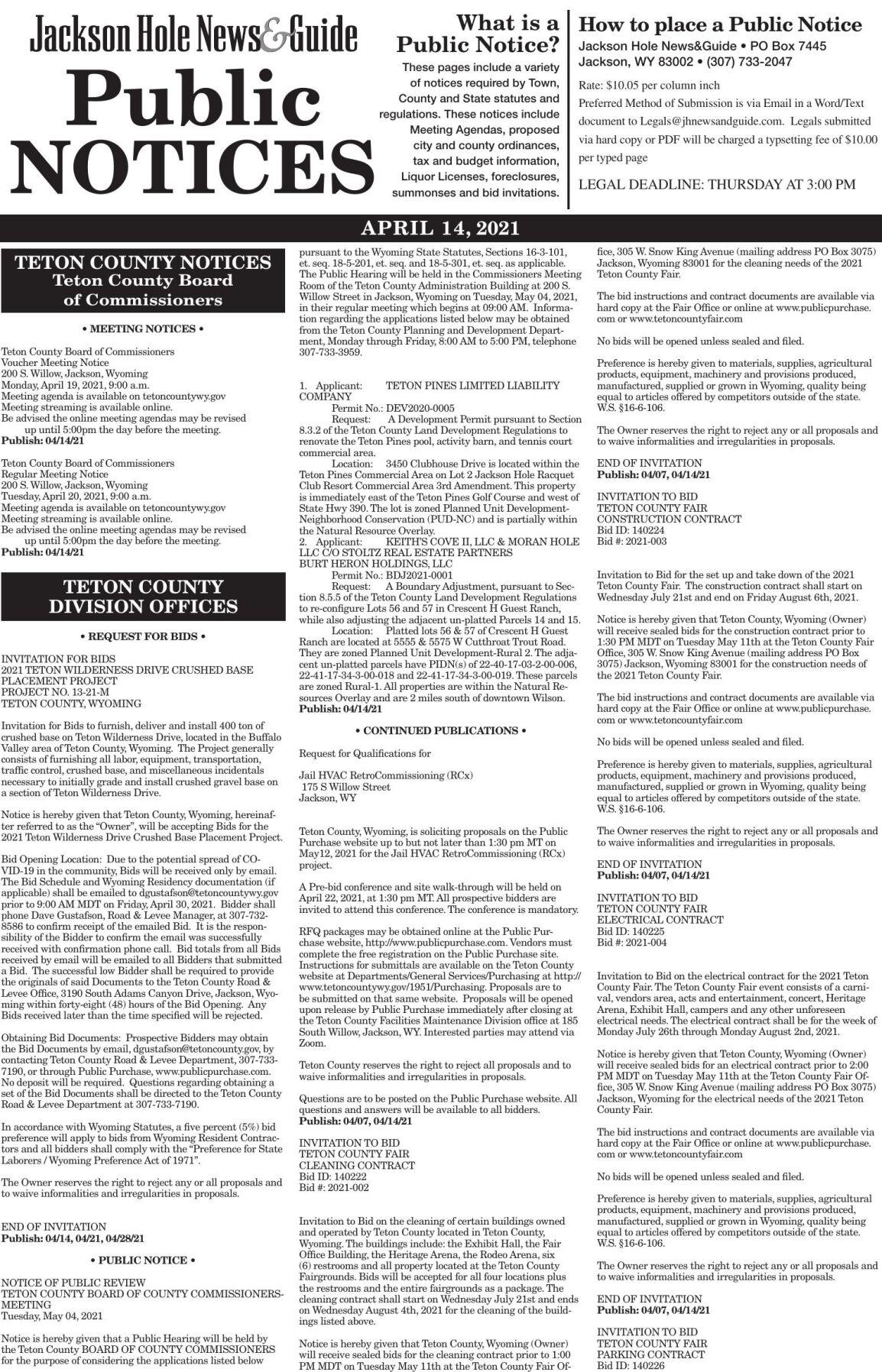 Public Notices, April 14, 2021