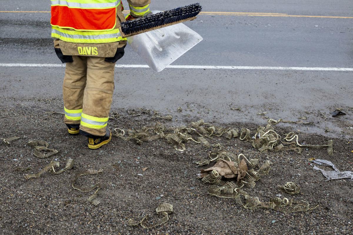 Dump truck rolls over in Wilson