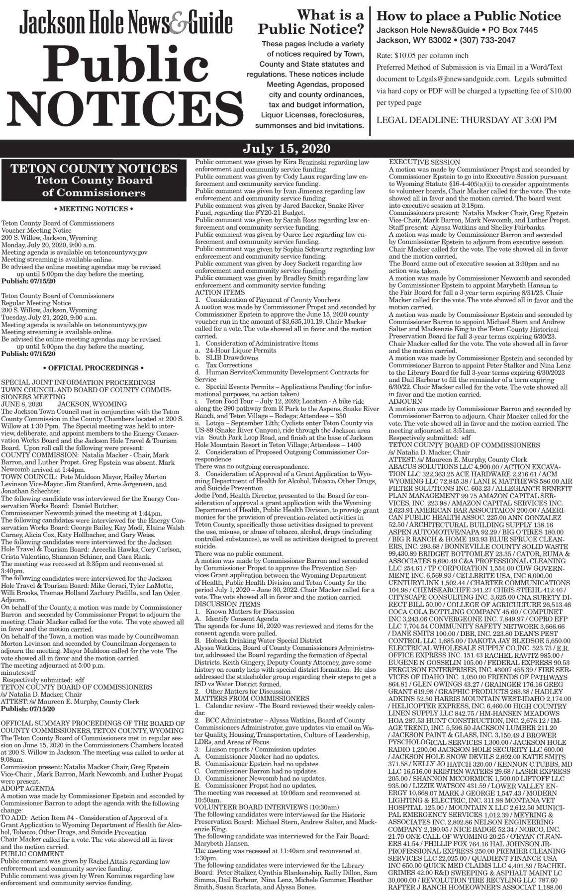 Public Notices, July 15, 2020