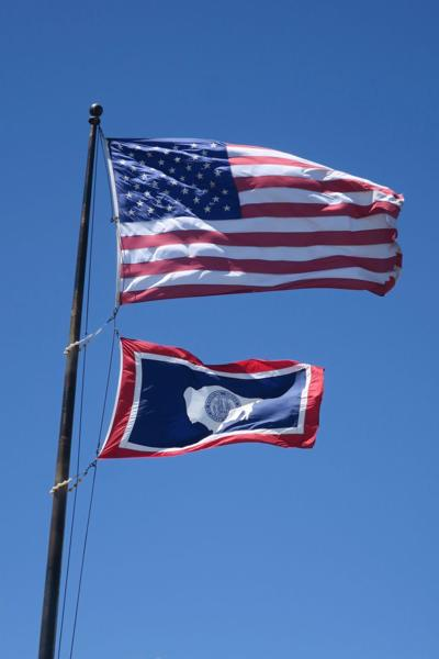 Wyoming and U.S. flags